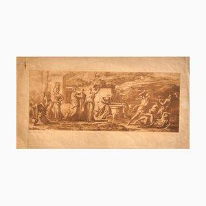 Quarrel - Original Radierung von E. Rosotte nach Poussin - 19. Jahrhundert 19. Jh