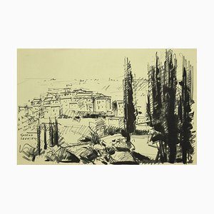Landscape - Black Marking Pen Drawing by G. Laurieu - 1954 1954