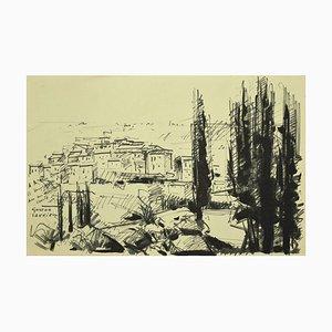 Landscape - Black Marking Pen Zeichnung von G. Laurieu - 1954 1954