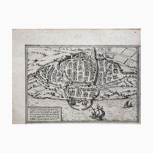 Map of Methoni - Original Etching by George Braun - Late 16th Century 16th Century