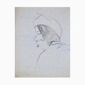 Portrait of Man - Original Charcoal Drawing by Flor David - 1950s 1950s