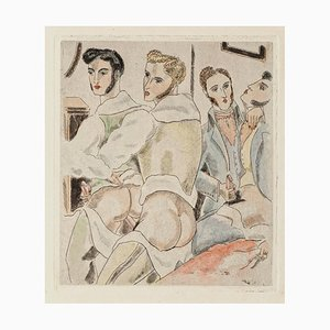 Erotic Scene - Original Etching by Chas Laborde - 1920s 1920s