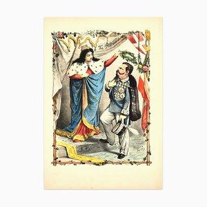 Krönung von Vittorio Emanuele II - Lithographie von A. Maganaro - 1872 1872