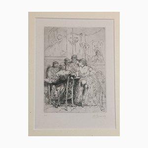 Salon - Original Radierung von Auguste Brouet