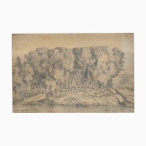 Banks of the Tiber - Rome - Original Ink and Watercolor Drawing 1742 1742