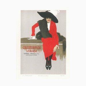 Calzaturificio di Varese - Vintage Adv Lithograph by L. Metlicovitz - 1914 1914