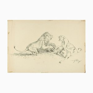 Lions Contending - Original Charcoal Drawing by Willy Lorenz - Mid 20th Century Mid 20th Century