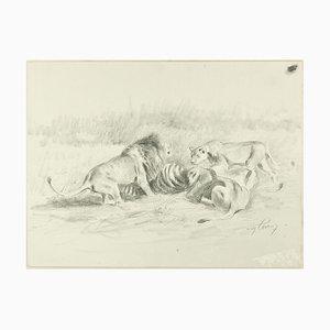 After the Hunt - Dessin au Pluie Original par Willy Lorenz - 1950s 1950s