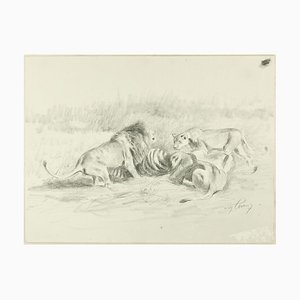 After the Hunt - Original Pencil Drawing by Willy Lorenz - 1950s 1950s