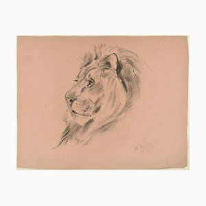 Profil eines Löwen - Original Kohlezeichnung von Willy Lorenz - 1940er 1940er