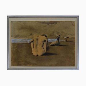 Untitled - Nude Woman / Original Mixed Media by Sergio Vacchi - 1973 1973