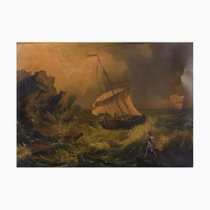 Glimpse of Coast with Boats - Oil Painting Early 20th Century Early 20th Century