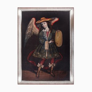 Angel with Drum - Original Oil, Tempera and Gold on Canvas - End of 19th Century End of 19th Century