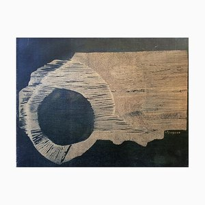 Night Sun - Original Woodcut on Canvas by Laura D'Andrea - 2000s 2000s