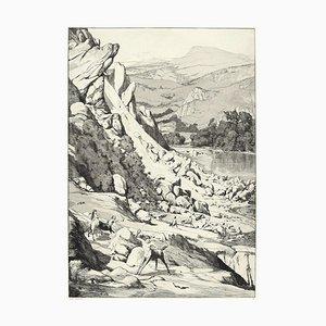Landslide - Original Etching and Aquatint by Max Klinger - 1881 1881