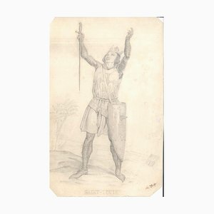 Saint-Louis - Original Pencil Drawing by Unknown French Artist 19th Century 19th Century