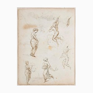 Studies with Landscape - Ink and Pencil on Paper y Anonymous Master - Early 1800 Early 1800