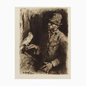 Taubenliebhaber (Pigeon Fanciers) - Original Etching by Arthur Kampf - 1904 1904