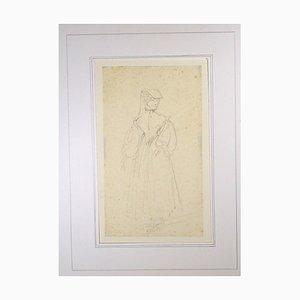 La Sorrentine - Dessin au Pluie Original par Horace Vernet - Mid 1800 Mid 1800