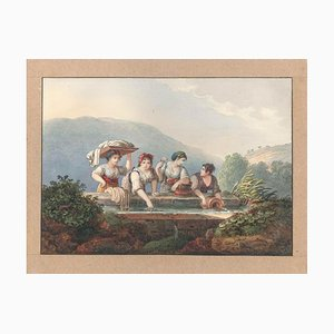 Women at the Source - Watercolor by an Italian School Artist of 19th Century Mid 19th Century