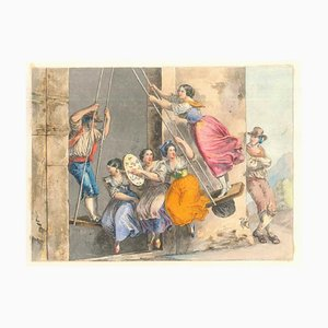 Genre Scenes / Rome 1800 - Lithographs and Watercolors - Mid 19th Century Mid 1800