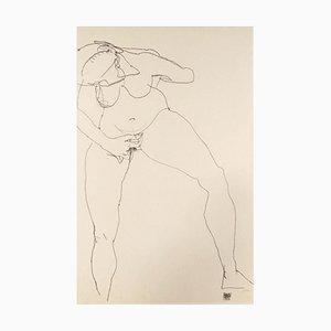 Stehende Frau Masturbieren - Original Lithograph After Egon Schiele 1990