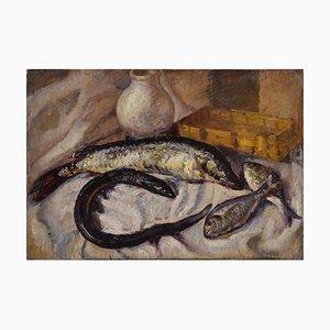 Stillleben mit Fischen - Original Öl auf Holzplatte ca. 1935