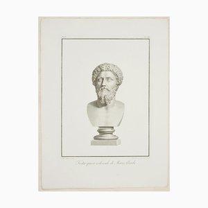 Testa Quasi Colossale di Marco Aurelio - Etching by P. Fontana 1821