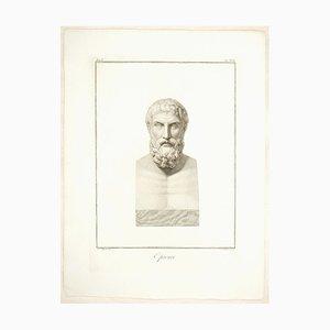 Epicurus - Original Etching by Pietro Bettelini After Agostino Tofanelli 1821