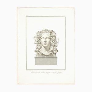 Testa Colossale Creduta Rappresentare la Spagna - Etching by F. Cecchini 1821