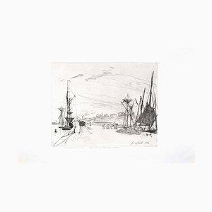 Vue du Port au Chênmin de Fer à Honfleur - Original Radierung von JB Jongkind 1866