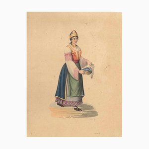 Woman in Typical Costumes - Watercolor by M. De Vito - 1820 ca. 1820 c.a.