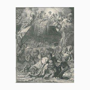 Le Déluge, von '' Temple des Muses '' - Original Radierung von Bernard Picart - 1742 1742