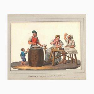 Venditori e Mangiatori di Maccheroni - Watercolor by M. De Vito - 1820 ca. 1820 c.a.