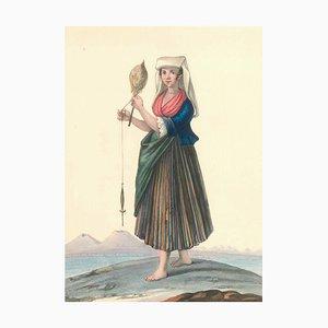 Costume napolitano del borgo di Chiaja - Watercolor by M. De Vito - 1820 ca. 1820 c.a.