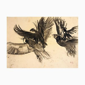 Vultures - Original Charcoal Drawing by Renato Brozzi - Early 1900 Early 1900