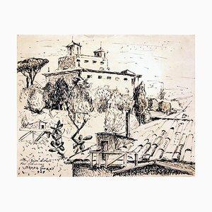 Villa Medici / Rome - Original Ink Drawing by Beppe Guzzi - 1949 1949