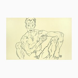 Crouching Male Nude (Self-Portrait) - 2000s - by Egon Schiele - Modern Art 2007