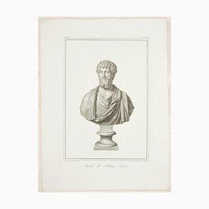 Büste des Septimius Severus - Original Radierung von GB Leonetti After B. Nocchi 1821