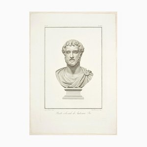 Bust of Antoninus Pius - Original Etching by P. Fontana After A. Tofanelli 1821