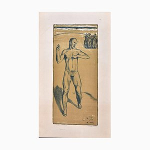 Nude of a Man - Original Hand Colored Lithograph by Max Lingner 1911