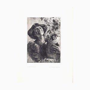 Junge Frau mit Blumenvase - Original Radierung von Karl Koepping - 1910 1910