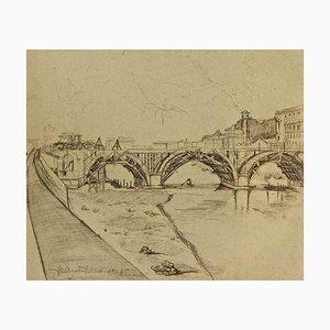 Ansicht von Ponte Duca D'Aosta (Rome) Under Construction - Originalzeichnung um 1950