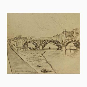 View of Ponte Duca D'Aosta (Rome) Under Construction - Original Drawing 1950 ca.