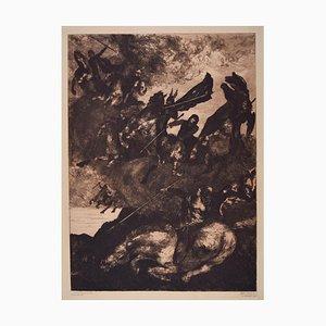 Litografia Walkurenritt (The Ride of the Valkyries) - Incisione originale di Albert Welti 1890