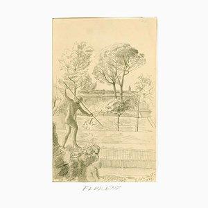 Boboli Gardens - Original Pencil Drawing by Anonymous Artist - 1889 1889