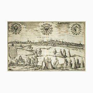 Nürnberg, Karte von '' Civitates Orbis Terrarum '' - von F.Hogenberg - 1572-1617 1572-1617