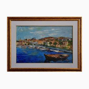 View f Porto S. Stefano (Italy) - Original Oil on Canvas by Luciano Sacco 1990s