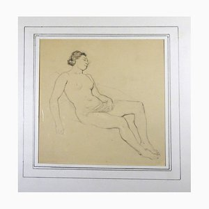 Femme Nue - Original Pencil Drawing by Horace Vernet - Mid 1800 Mid 1800