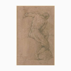 Sitting Male Nude - Original Brush, Pastel and Watercolor Sepia Drawing 17th Century